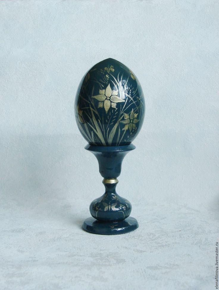 Купить Подарок на Пасху яйцо пасхальное Полевые цветы темно-синий - яйцо пасхальное яйцо