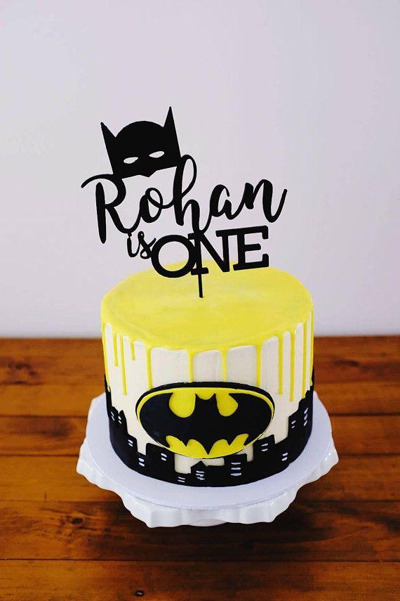 Astounding Custom Batman First Birthday Topper Gotham Cake Toppers Personalised Birthday Cards Paralily Jamesorg