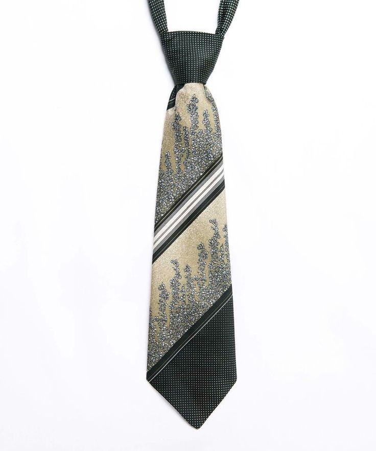 Vintage 70s Green Patterned Kipper Tie - Made in England - Striped Floral Polka