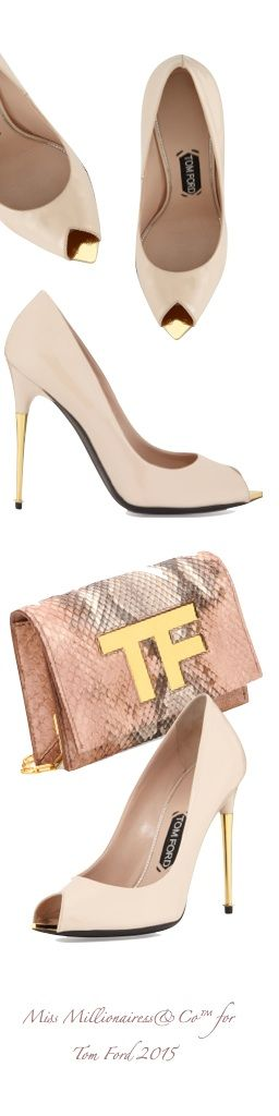 Tom Ford 2015 V-Cut Peep-Toe Patent Pump and Exotic TF Logo Chain Wallet