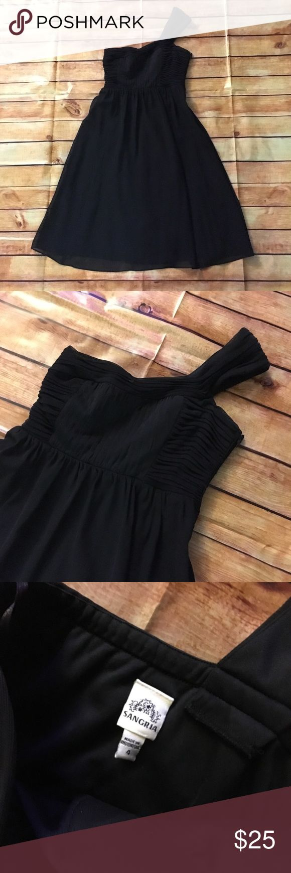 Black one strap dress - size 4 Gorgeous little black dress (LBD) - size 4 - sheer over solid. Gathering at chest and the one shoulder. Side zipper. True to size Signature by Sangria Dresses One Shoulder