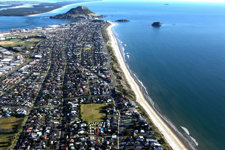 Cosy Corner Holiday Park, Mt Maunganui, NZ is situated at the bottom of this photo - look for the swimming pool.