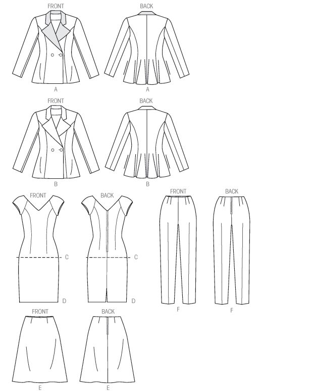 V9036 | Misses' Jacket, Top, Dress, Skirt and Pants | New Sewing Patterns | Vogue Patterns  NOTE: this is, in essence a capsule wardrobe pattern. if you were to make  this in one of your neutrals, its a wonderful add on  (assuming it fits your  figure type/style) make it twice in two different bit coordinating colors? the combinations go up