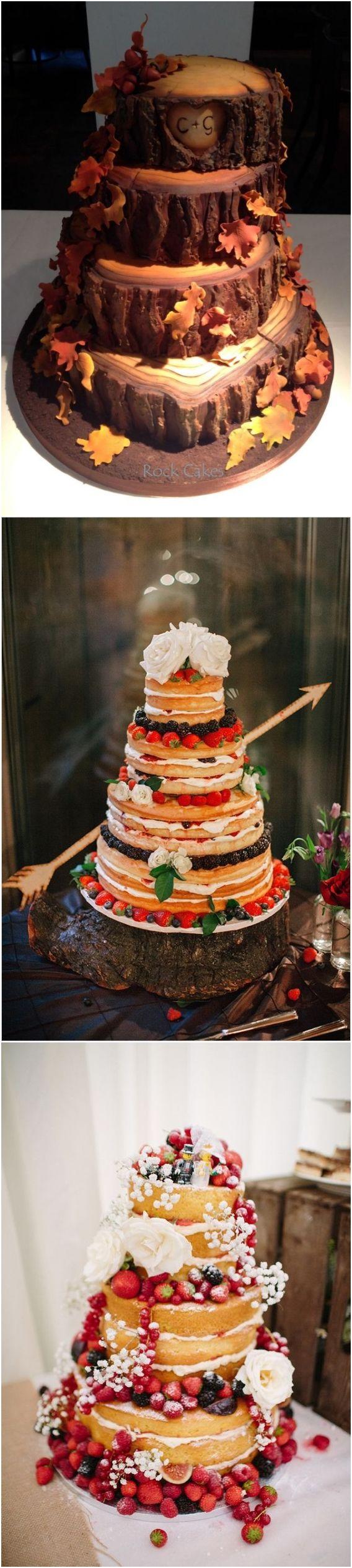 Fall wedding cakes #rusticwedding #weddingcakes #fallwedding / http://www.deerpearlflowers.com/fall-wedding-ideas-for-2017/