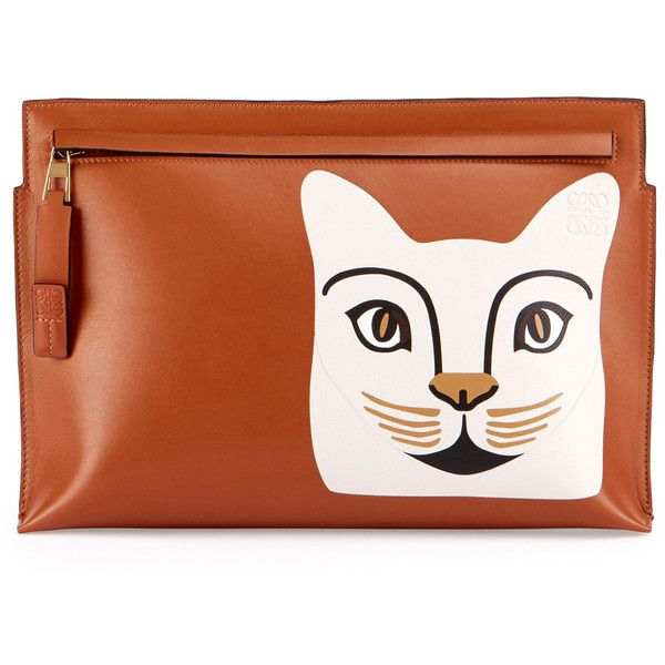Loewe Painted Cat Pouch Bag (£895) ❤ liked on Polyvore featuring bags, handbags, clutches, cat, kitten, brown, handbags clutches, pouch purse, handbag purse and loewe