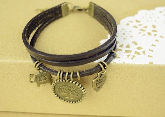 Layered Bracelet-Leather-Brass charm-Tree of life design from Picsity.com