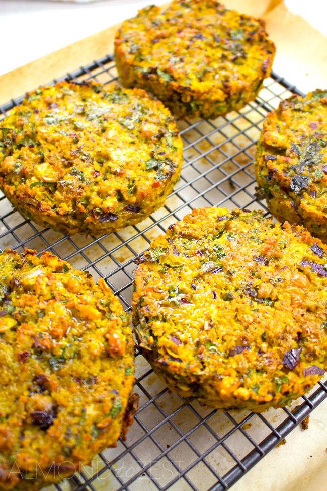 Chic Pea and Bulgur Wheat Patties - Exploding with fantastic flavors of fresh cilantro, garlic, tumeric, toasted cumin seeds and red onion for zing! Healthy and vegetarian too. SO GOOD!!