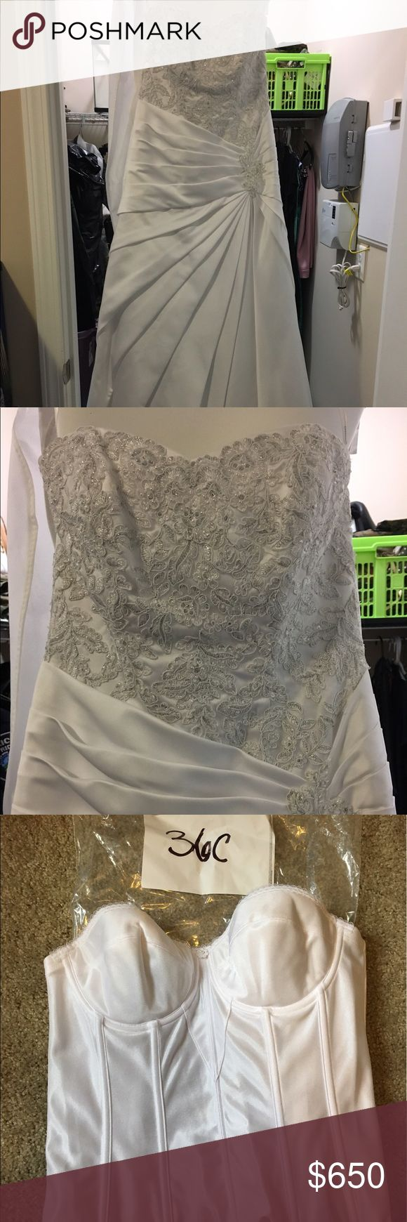 "Davids Bridal Wedding Dress Size 6, slight alterations; bust 29in, waist 32in, hips 40in. Includes veil, silk corset (36C), fit and flare slip (sz 10), comes in dress bag. Only worn once in church, very clean. Fit a 5'7"" woman with heels. Smoke free, animal free home. David's Bridal Dresses Wedding"