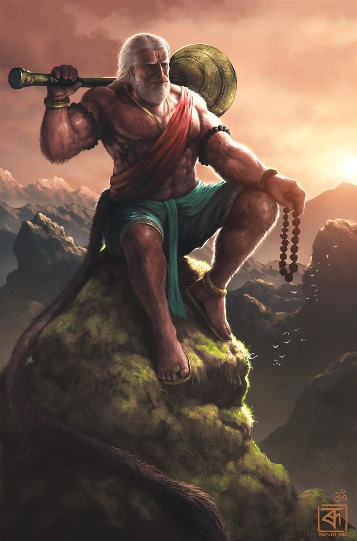 Hanuman is an ardent devotee of Rama. He is one of the central characters in the various versions of the epic Ramayana found in the Indian subcontinent and Southeast Asia, he is also mentioned in several other texts, such as the Mahabharata,the various Puranas and some Jain, Buddhist, and Sikh texts. Several later texts also present him as an avatar of Shiva. Hanuman is one of the most powerful characters in Indian mythology,father of all superheros.  Painted everything in photoshop, no…