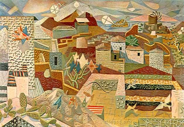 """Large Landscape of Hydra"", by Nikos Hatzikyriakos-Gikas (20th c.)"