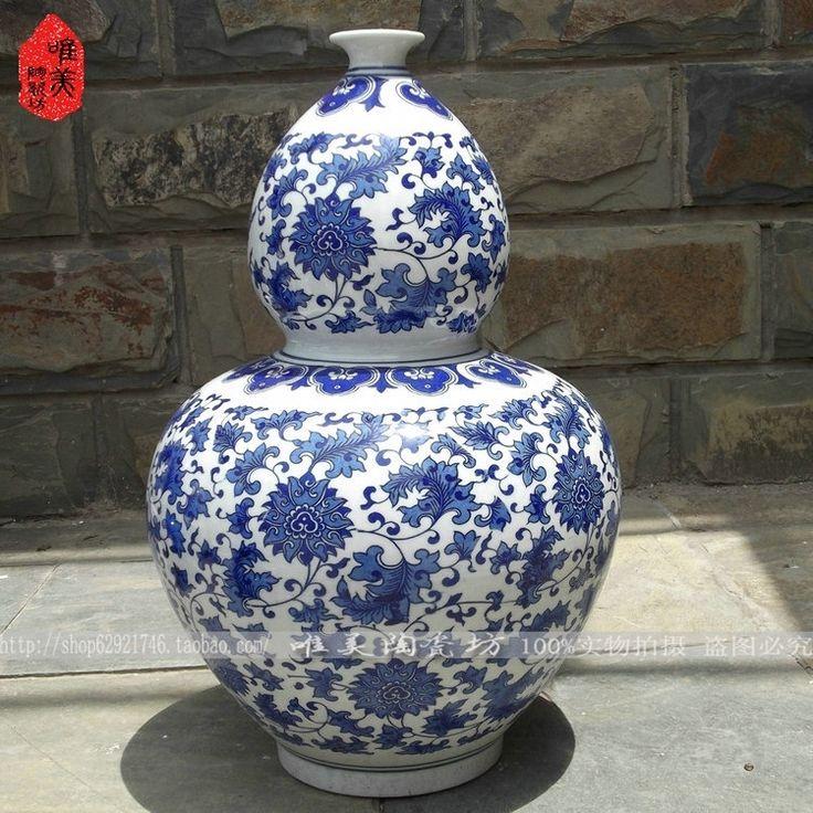 Jingdezhen azul y blanco jarrón de cerámica / porcelana azul y blanca / de desplazamiento de loto grande botella de calabaza artesanía adornos(China (Mainland))