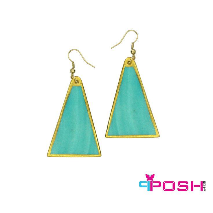 Rita - Modern turquoise Triangular earrings  - gold colour trim - 6.5 cm x 3 cm #earrings #jewelry