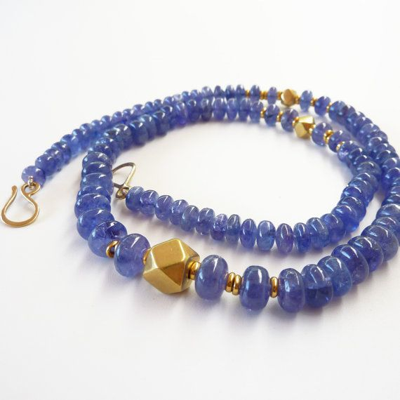 Tanzanite necklace 18K Gold Necklace Old gold by RuthaJewelry