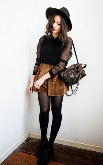 Bohemian Style Idea: wide brimmed hat, brown suede skirt, sheer tights