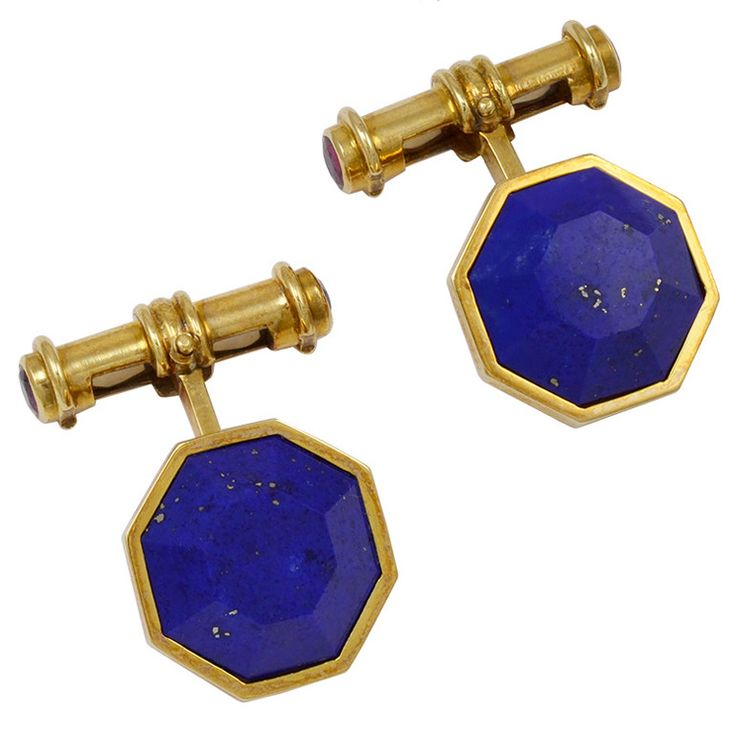 Asprey Lapis  Ruby Gold Cufflinks | From a unique collection of vintage cufflinks at https://www.1stdibs.com/jewelry/cufflinks/cufflinks/