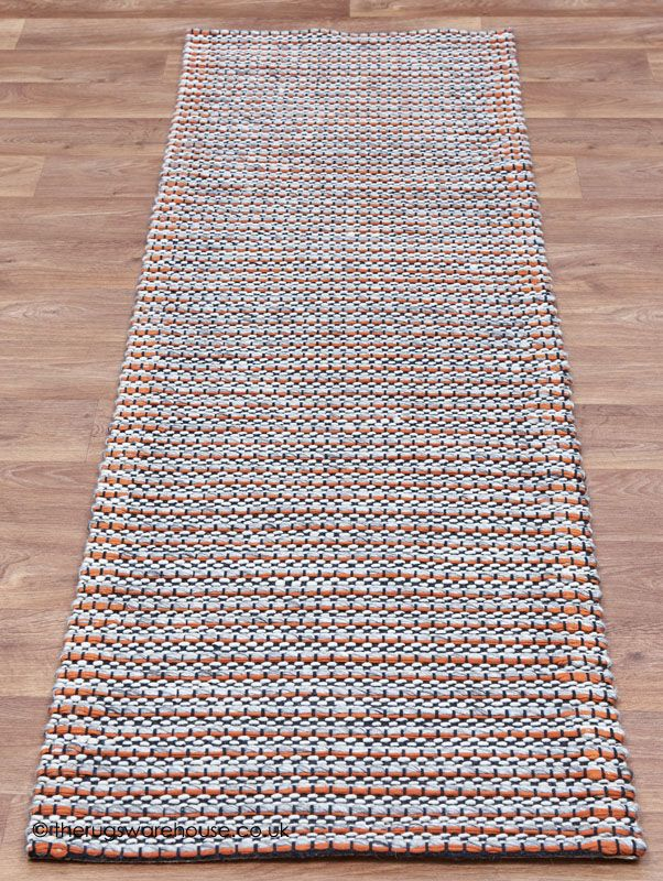 Linden orange runner a modern hand woven wool cotton for Contemporary runner rugs for hallway