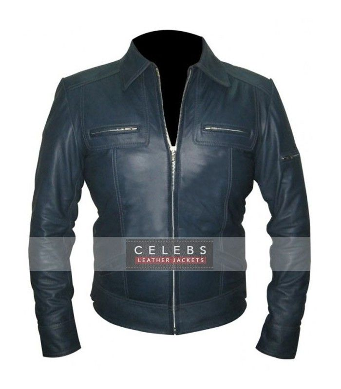 Mens blue leather jacket. Clothes stores