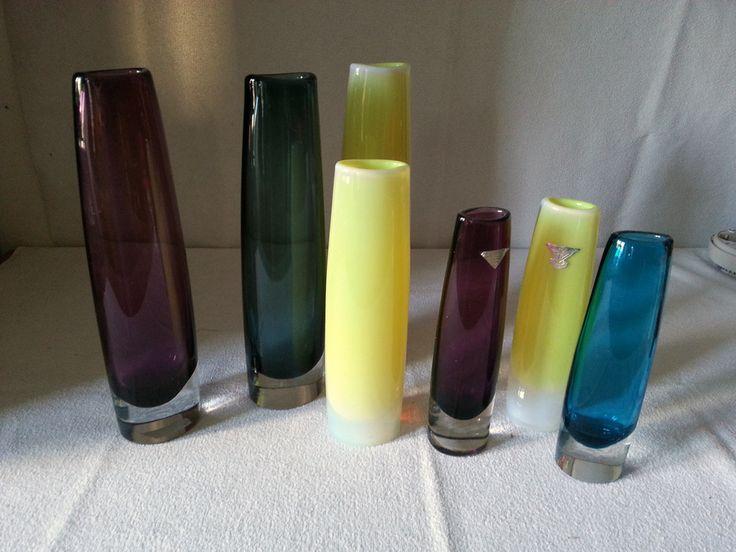 Flower glasses (vases) by Arthur Percy, Gullaskrufs glass mill