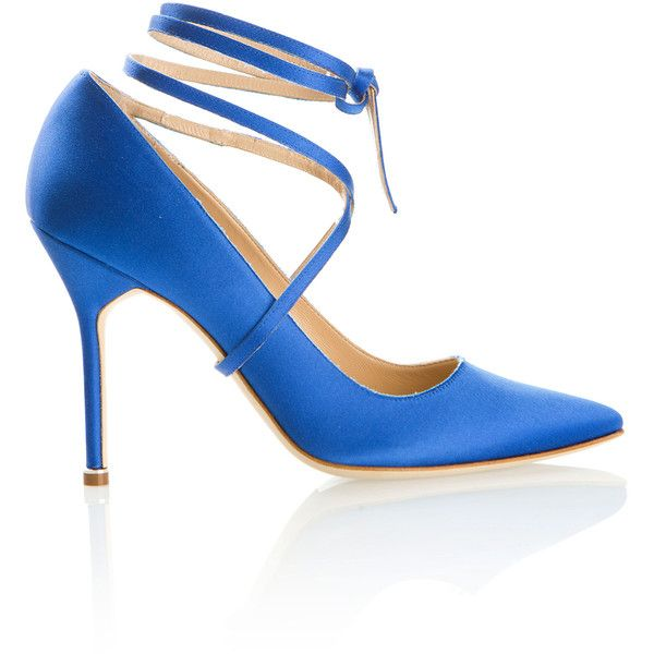 Manolo Blahnik X Vetements Blue Satin Pumps ($795) ❤ liked on Polyvore featuring shoes, pumps, blue high heel pumps, blue satin pumps, blue pumps, blue shoes and satin pumps
