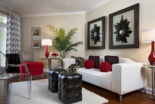 Sala pequeña en blanco, rojo y negro.