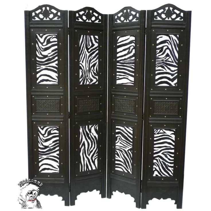 Zebra Print Bedroom Ideas   PHAT TOMMY Zebra Print 4 Panel Room Divider Screen