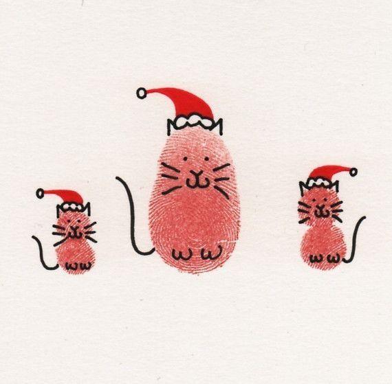Cats in Santa Hats Christmas Card от ThumbelinaCardCo на Etsy, $5.55