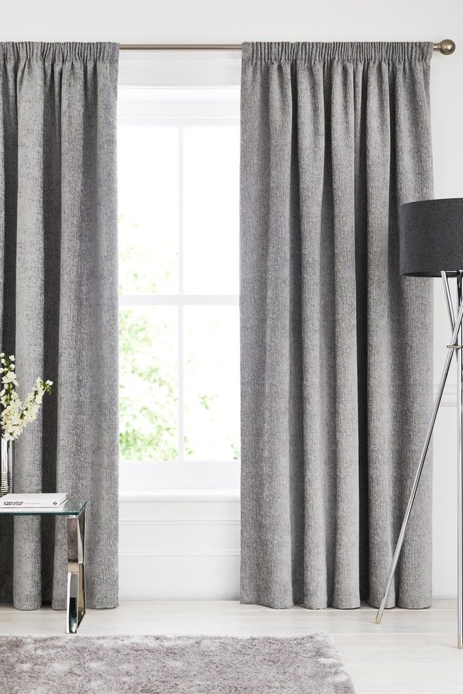 Next Heavyweight Chenille Pencil Pleat Lined Curtains Grey Grey Curtains Living Room Curtains Next Grey Curtains Bedroom