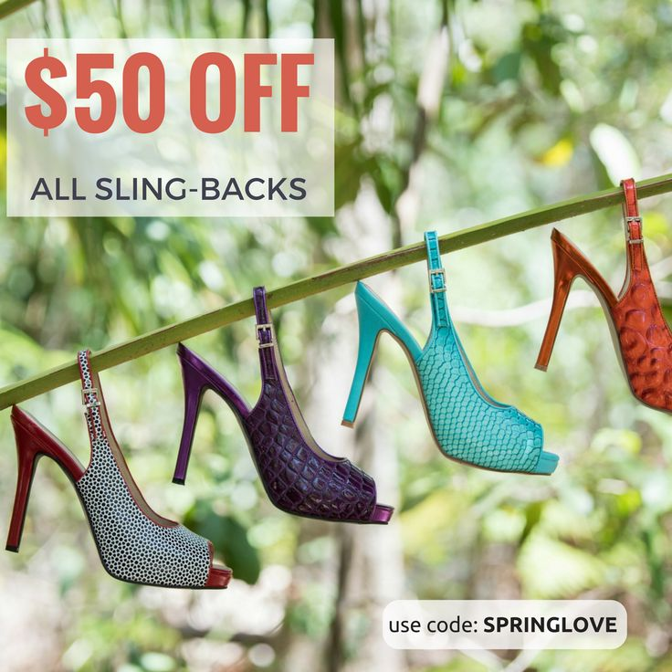 I am so thrilled that Spring has finally sprung and to celebrate we offering you a whopping $50 OFF all sling-back heels. Simply use code SPRINGLOVE at checkout to redeem. #shoesale