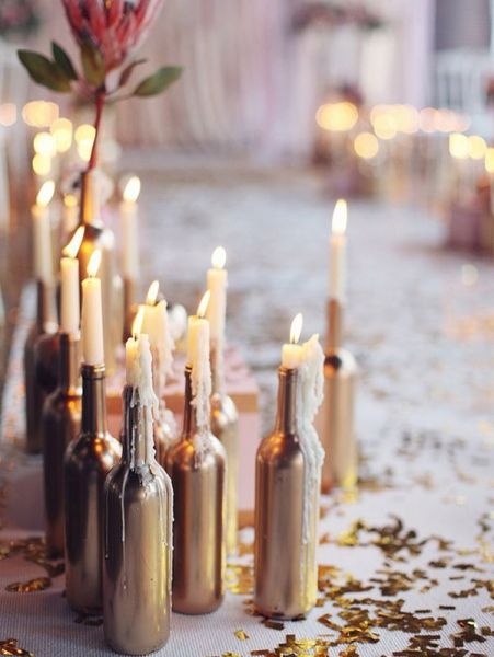DIY: goud geverfde flessen | ELLE