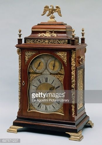 Table clock with decorated wooden case and gilt bronze applications, London, United Kingdom, 18th century
