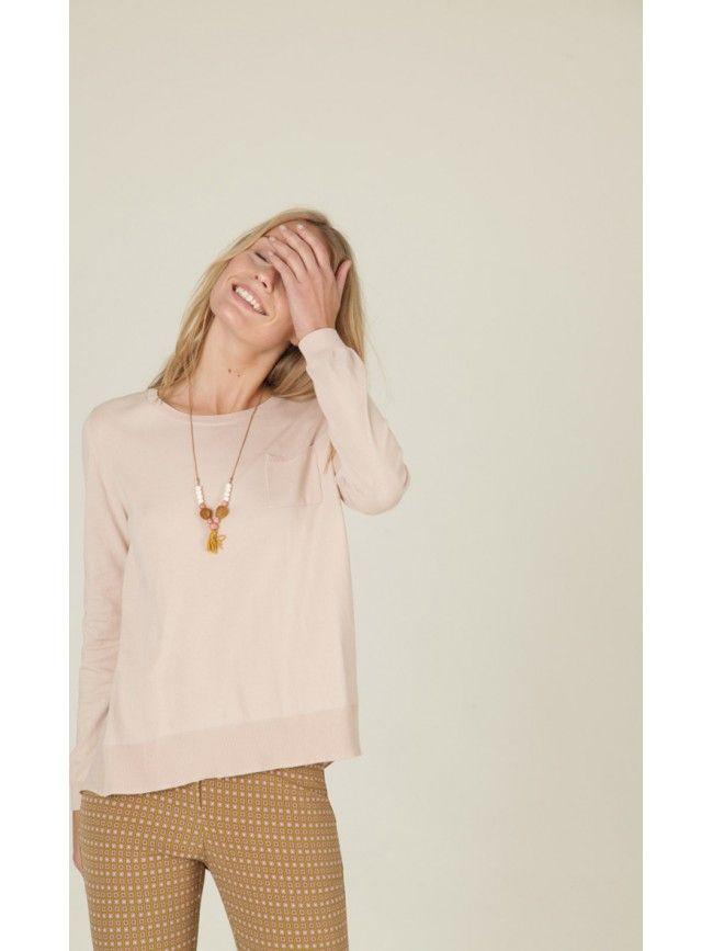 #Jersey manga larga con bolsillo lateral combinado con la parte trasera en seda. Colección #NiceThings primavera verano 2016. #Fashion #Moda
