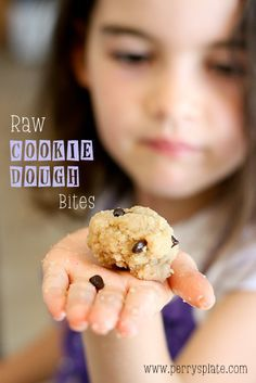 Raw Cookie Dough Bites - Gluten, Sugar, Dairy, and Egg Free!  Note:  If you are on a low carb diet, this recipe does contain mini dark chocolate chips, but many low carbers prefer dark chocolate which is fairly low carb instead of sugar free chocolate chips with sugar alchohol.  www.PerrysPlate.com