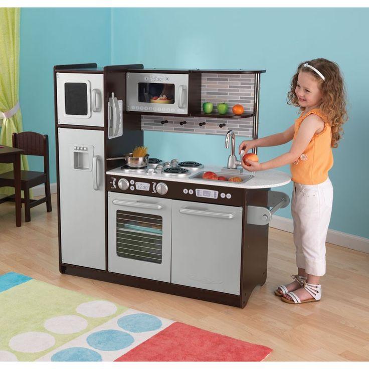 Cocina de juguete de madera modelo Uptown Espresso de la marca Kidkraft. Juguete de madera para niños y niñas robusto y sólido y con multitud de detalles.