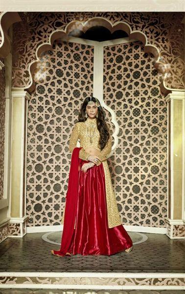 Picture of Excellent Red Designer Lehenga Kameez