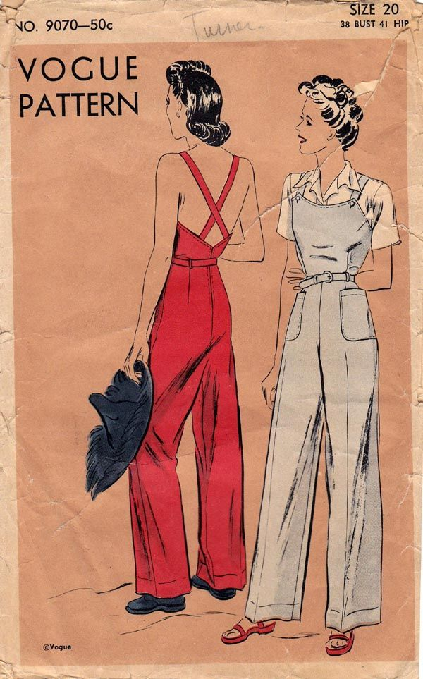 Vogue 9070, wartime pattern for overalls.  pretty in love with this pattern...