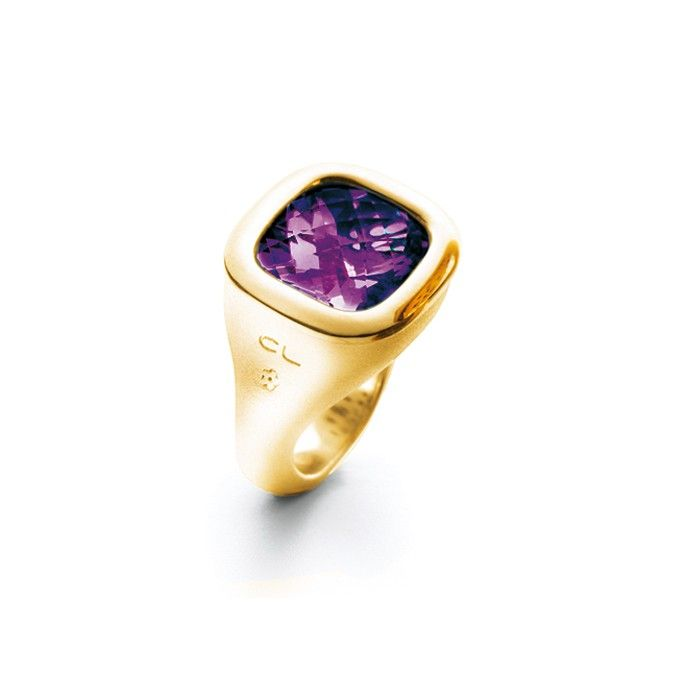 Cushion ring in 18K yellow gold with amethyst and diamonds TW.VS - Rings | OLE LYNGGAARD COPENHAGEN