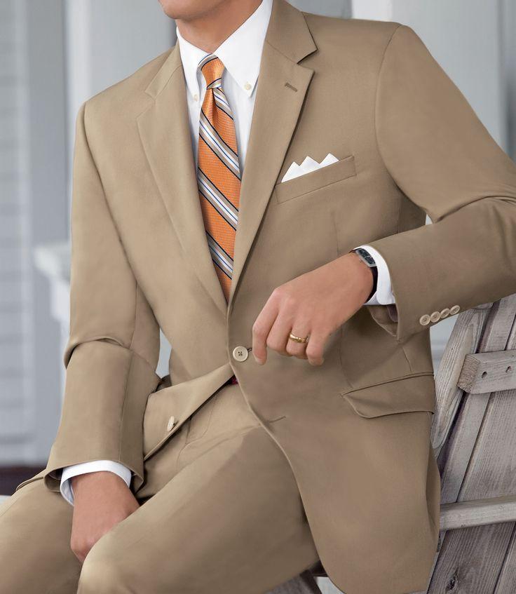 Natural Stretch 2-Button Poplin Plain Front Suit