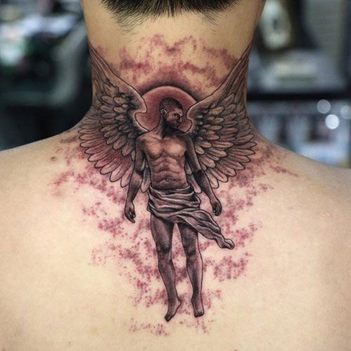 125 Best Neck Tattoos For Men Cool Ideas Designs 2019 Guide Guardian Angel Tattoo Meaning Guardi Back Of Neck Tattoo Best Neck Tattoos Wing Neck Tattoo