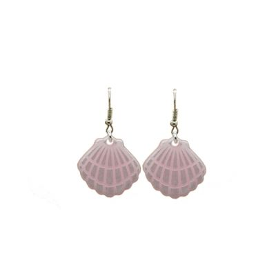 Pearlescent Pink Clam Shell Earrings gorgeous pearly pink luster drop earrings feel like a mermaid with these nautical pastel pink shells