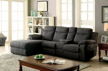 "2 pc Kamryn collection grey linen like fabric upholstered sectional sofa with chaise and recliner. This set features a reclining back chaise cup console and recliner. Measures 101 1/4"" x 67"" x 38 1/2"" H. Some assembly required."
