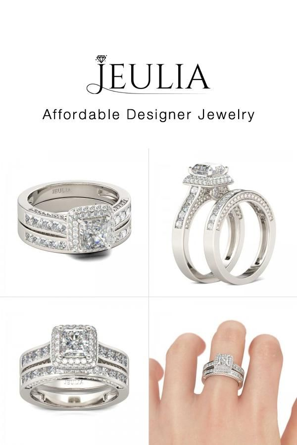 c9a279573532fa #Jeulia JEULIA Double Halo Wedding Ring Set For Women Princess Cut Creat.  Discover more stunning Wedding Sets from Jeulia.com. Shop Now!