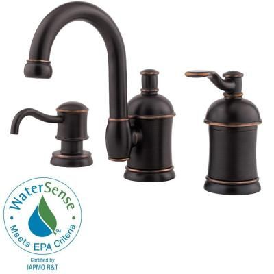 Pfister Amherst 8 in. Widespread Single-Handle High-Arc Bathroom Faucet with Soap Dispenser in Tuscan Bronze-F-049-HA1Y - The Home Depot