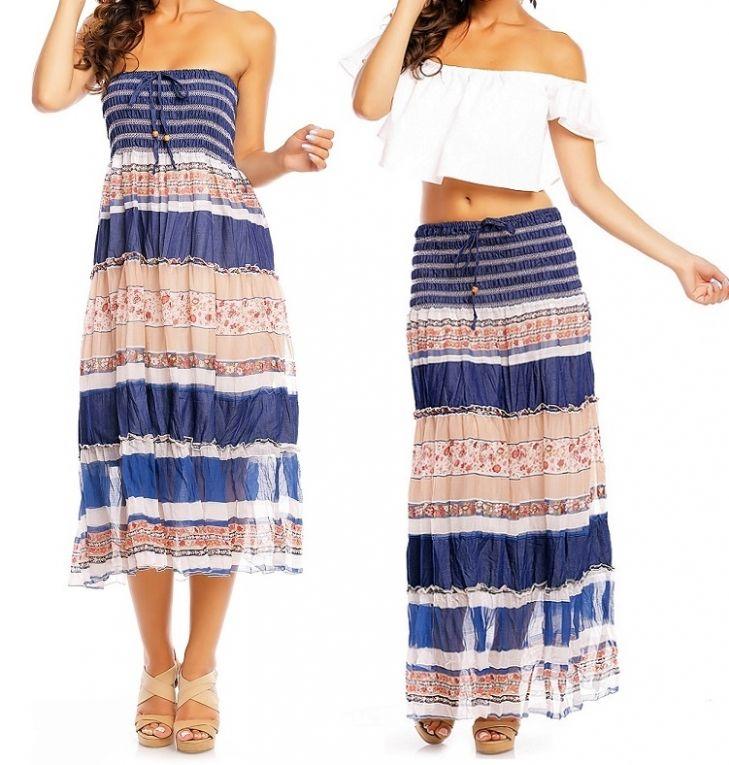 2 in 1 Ibiza rok en jurk blauw - roze  S/M, L/XL €17,50 Prachtige Ibiza bandeau jurk welke ook als maxi rok is te dragen in blauw-roze