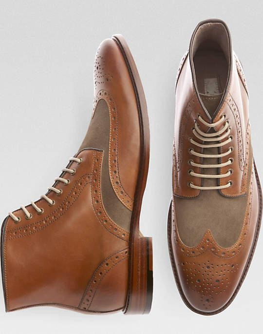 Joseph Abboud Tan Wingtip Boots - Boots | Men's Wearhouse