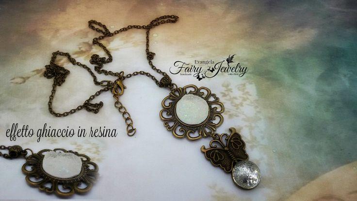 Collana cabochon imitazione agata druzy effetto ghiaccio in resina farfalla bronzo, by Evangela Fairy Jewelry, 12,00 € su misshobby.com