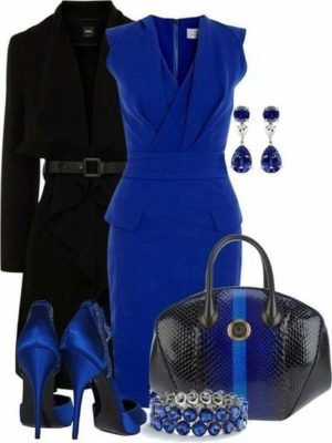 blue again. when i wear color blue is usually where I go. I actually have a dress this color in my closet right now. I dont like lizard skin bags/shoes tho. I like the coat. this could easily be a work dress or a date night dress.