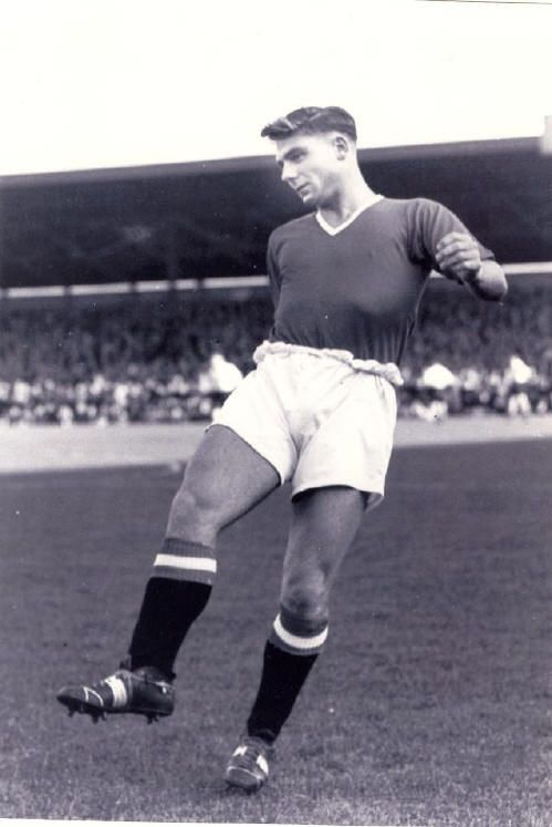 """Duncan Edwards (1 October 1936 – 21 February 1958), English left half (Manchester United FC, 1953–1958, 151 apps, 20 goals) and (England, 1955–1958, 18 caps, 5 goals). He was one of the """"Busby Babes"""", the young ManUnited team formed under manager Matt Busby in the mid-1950s. He died at the age of 21 in the Munich air disaster. He was one of the 8 Manchester United players that lost their lives in the crash, on 6 February 1958."""