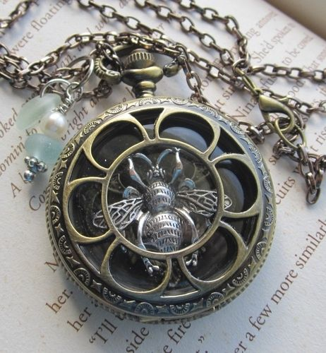 Antiqued Brass Queen Bee Locket with Beach Glass