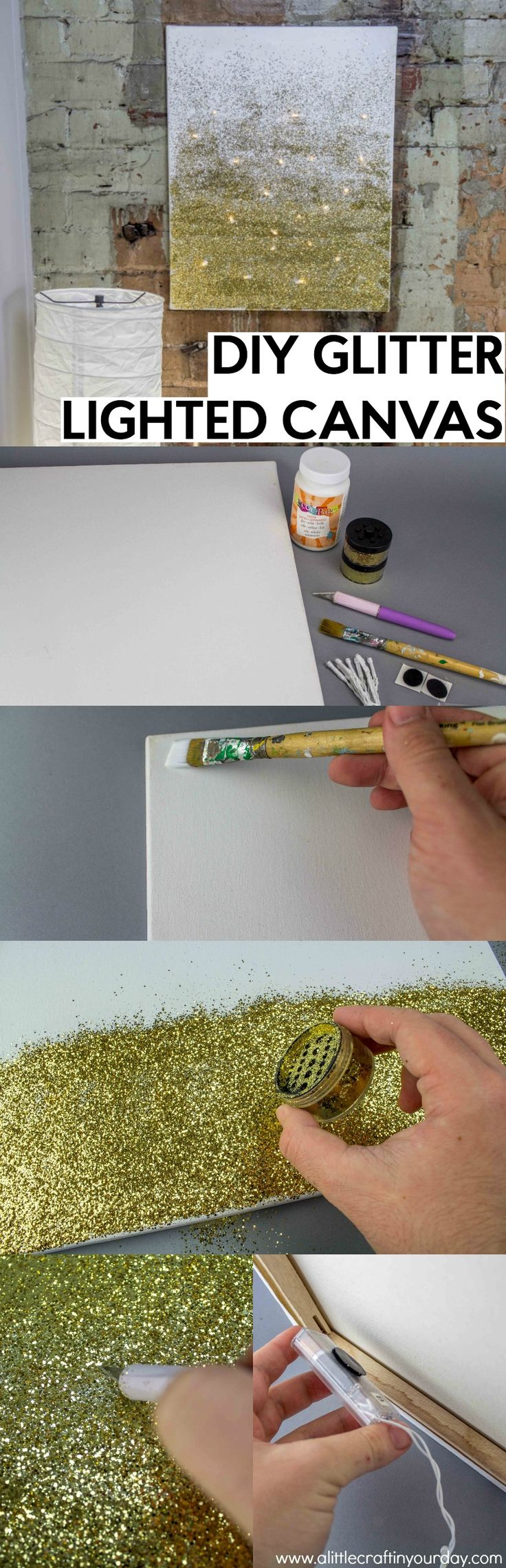Today I have a beautiful, yet simple DIY to show all of you. What girl doesn't love glitter and fairy lights? This tutorial is for a DIY Glitter Lighted Canvas and you won't believe how simple it is to create! It just takes faith, trust, and a little bit of pixie dust!
