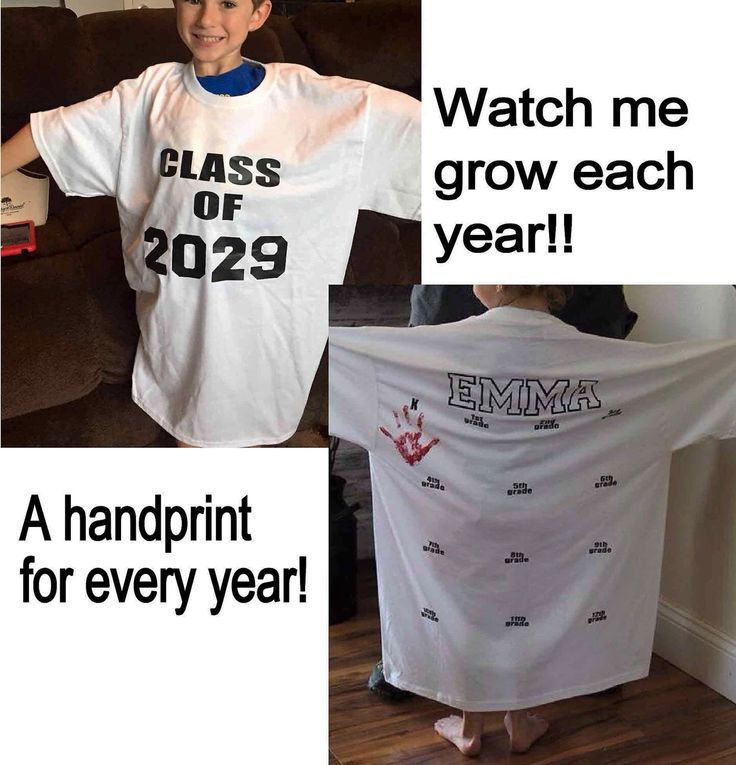 A personal favorite from my Etsy shop https://www.etsy.com/listing/275593030/class-of-2029-shirt-handprint-shirt